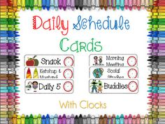 Daily schedule cards - with or without clocks.