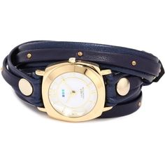La Mer Collections Studded and Layered Wraps Navy Shimmer Studded Case... (£56) ❤ liked on Polyvore featuring jewelry, watches, navy watches, hand crafted jewelry, leather wrist watch, 14k jewelry and navy blue jewelry
