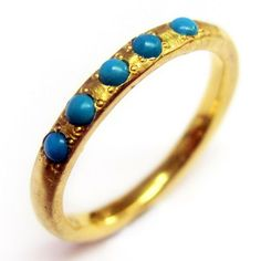 Vintage Turquoise Set Classic Band Ring in 14k Yellow Gold