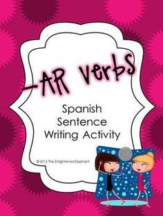 Present Tense -AR Verbs Spanish Sentence Writing Station Activities