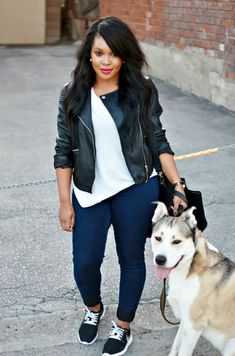 black leather jacket, white cami / white t-shirt, blue skinny jeans, black converse