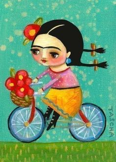 FRIDA KAHLO on her red bicycle PRINT of tascha painting by tascha.