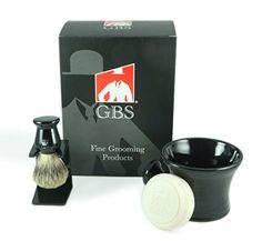 Mens Grooming Set  Comes with Gift Box  Black Shaving Mug with Knob Handle 100 Pure Badger Brush Brush Stand and 97 All Natural Gbs Ocean Driftwood Shave Soap * Continue to the product at the image link.