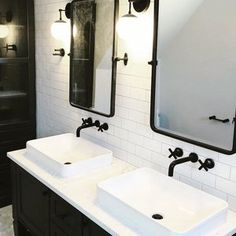 jaclo contemporary wall mounted widespread lav faucet with cross handles and 90 degree spout in black - the ultimate guide to luxury plumbing by the delight of design Bath Fixtures, Plumbing Fixtures, Bathroom Faucets, Bathrooms, Newport Brass, Bath Design, Kitchen And Bath, Double Vanity, Contemporary