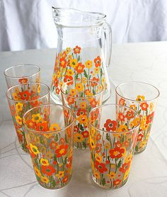 Neat Juice glasses and pitcher 1960's