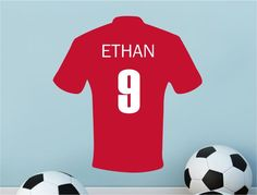 d6ffd3ae4f6 Personalised Name & Number On Football Jersey Wall stickers ,Sports GYM  Vinyl Baby Nursery wall decals For Kids Room Boys