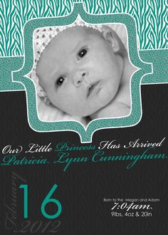 Leopard Zebra Animal Print New Born Baby Girl Announcement Card  by PURPLEgalore on Etsy, $14.00