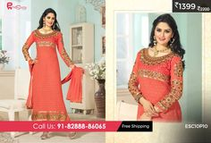 #Georgette #Suit #Orange for just Rs 1399/-Shop now @ enasasta.com/deal/fantastic-georgette-orange-suit Cash on Delivery at available (Rs99 extra) || Shipping Free Call or Whatsapp @08288886065