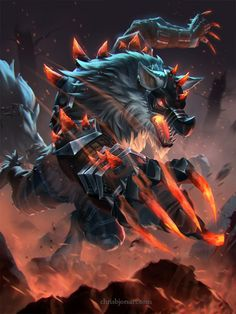 Currently browsing Fenrir Iron Maw for your design inspiration Dark Fantasy Art, Fantasy Wolf, Fantasy Beasts, Mythical Creatures Art, Mythological Creatures, Fantasy Creatures, Arte Furry, Furry Art, Demon Wolf