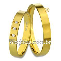 f954cb16643 Aliança de noivado e casamento Aliança em ouro amarelo 18k 750 Peso  8.5  gramas o