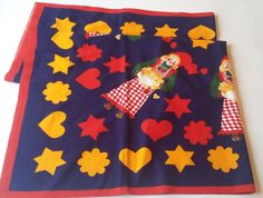 Finlayson Finland Vintage Christmas Tablecloth Gnome Girl Gingerbread Star Heart