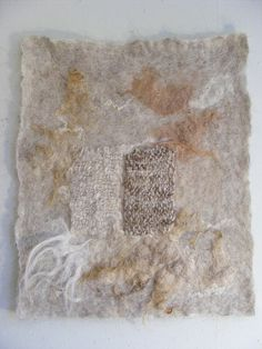 felt / various wools and dyes, and natural colors. schoonebeker, drent, a little bfl. and seacell is also there in the weaving. Dyed with black walnut, walnut/meekrap exhaust, and oakbark. Natural colors light greybrown and white -by Meta van der Knijff via Flickr