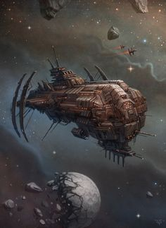 Frigate, Dmitriy Leonovich on ArtStation at https://www.artstation.com/artwork/frigate-60c9aec4-0b68-41d0-9bcc-ab12c4787b38