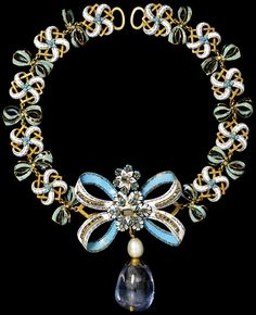Necklace, Western European, ca 1660 (bow) and 1800-1900 (chain and pendant), enameled gold set with table cut diamonds, hung with a pearl and a large polished sapphire