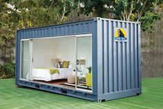 abri de jardin habitable en conteneur transformé en chambre d'amis confortable