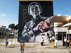 Manuel Lee Chang – El Coreana (Seres Queridos) - Unbelievable Street Art Murals by El Mac - Painted with spraypaint & fatcaps for the Seres Queridos project. Campeche, México, 2010