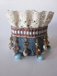 What if this was a little fabric basket for jewelry storage... - Denim Cuff Bracelet