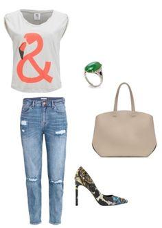 Tshirt Vero Moda Shoes Nine West Bag Zara Skirt, ring H&M  http://personalstylist.pl/