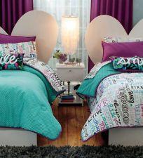 New Girls Teens Gray Aqua Black Love Smile Letters Comforter Bedding Sheet Set