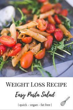 Easy & yummy #pasta #recipe that works for weight loss. No added fats like oil and low calorie. Get this #vegan recipe!