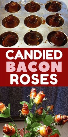 "Nothing says ""I love you"" like a bouquet of bacon roses! Surprise the bacon lover in your life this Valentine's Day with these tasty homemade candied bacon roses, made with cayenne pepper and brown sugar. #valentinesday #valentinesdaygiftideas #bacon #giftsforhim #giftsfordad #diygifts"