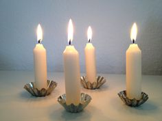 DIY - Kerzenhalter aus alten Backförmchen// DIY - Candle holders shabby-chic http://ohformidable.wordpress.com