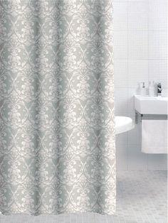 Beige Green White Damask Shower Curtain Pop Laundry Clothes Bin Basket Hamper (Shower Curtain): Amazon.co.uk: Kitchen & Home