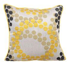 Yellow Polka - 16 x 16 Silk Jacquard Patterned throw pillow.