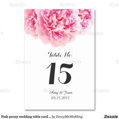 ピンクのシャクヤクの結婚式のテーブルカードpeony3