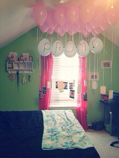Prom proposal with balloons and favorite pictures of us :)