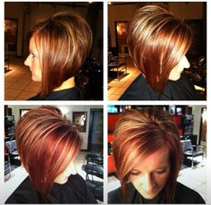 Short hair, align bob, stacked, fall hair color