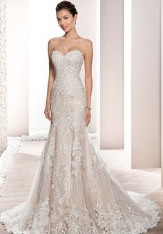Strapless Shear Sheath Wedding Dress | Style 709 by Demetrios |  http://trib.al/oDYfgm8