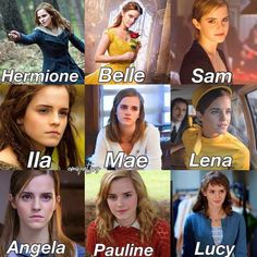 Emma Watson and the main parts she has played in the movies. Alex Watson, Emma Watson Fan, Emma Watson Quotes, Lucy Watson, Emma Watson Style, Emma Watson Movies, Harry Potter Puns, Harry Potter Cast, Harry Potter Characters