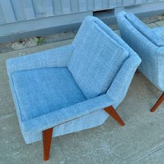 vintage mid century modern lounge chairs    Set of vintage mid century modern lounge chairs  Original ash blue upholstery  Design inspired by Folke Ohlsson