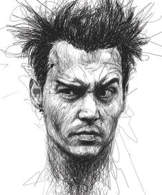 Faces, Vince Low, pencil, drawing, sketch, Johnny Depp, caricature