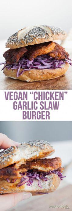 """Vegan """"Chicken"""" Garlic Slaw Burger via /elephantasticv/"""