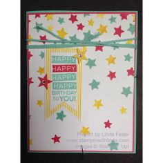 Amazing Birthday Stars Card with Stampin' Up! Stamps & Decorative Masks