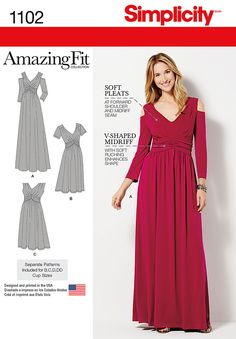 """Sew this figure flattering """"Amazing Fit"""" dress for knits only in maxi or knee length with option of sleeveless, short or 3/4 sleeve with cold shoulder. The design features soft pleats and a v-shaped midriff with soft ruching to enhance your shape. Available in Misses & Plus sizes."""