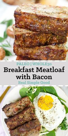 Meatloaf for breakfast? Yes it really is a thing! This paleo and breakfast meatloaf with bacon is so savory and delicious you'll want to devour it the second you crawl out of bed. Ground beef sausage bacon vegetables and fresh herbs make this Paleo Whole 30, Whole 30 Recipes, Real Food Recipes, Healthy Recipes, Easy Recipes, Cookie Recipes, Loaf Recipes, Disney Recipes, Disney Food
