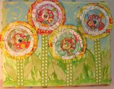 FOUR LITTLE POSIES ALL IN A ROW MIXED MEDIA CANVAS COLLAGE