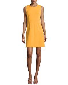 TBXU1 Diane von Furstenberg Sleeveless Carrie A-Line Dress, Saffron