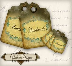 Handmade Tags Labels instant download printable by VectoriaDesigns, $3.65