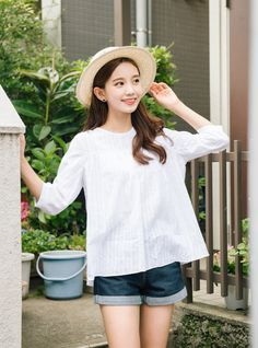 #mixxmix BAUHAUSWhite 3/4 Sleeve Loose Blouse (CATS)	 Create that sweet and…