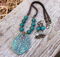 artisan crafted ceramic tree pendant, ocean green chalcedony gemstones, freshwater pearl, a mix of antiqued brass beads & chocolate brown deerskin lace necklace & earrings set | by pinkpoppystudio