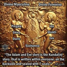 """""""The Adam and Eve story is the Kundalini story, that is written within everyone, on the backside and sealed with 7 seals."""" ~ Mynzah   art by Alex Grey"""