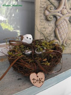 Personalized Ring Bearer Twig Love Bird Nest Woodland Rustic Romantic Ring Pillow Alternative Cake Topper