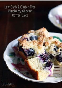 This low carb & gluten free blueberry cheese danish coffee cake has four amazing layers! Keto and Atkins diet friendly - it can also be made into muffins!