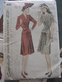 Vintage Sewing Pattern 1940s Two Piece Dress Peplum Jacket and Skirt on Etsy, $15.00