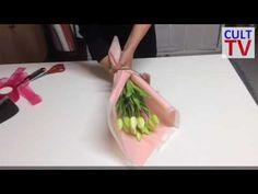 Упаковка и оформление цветов. Мастер класс. Подарочный букет тюльпанов. - YouTube