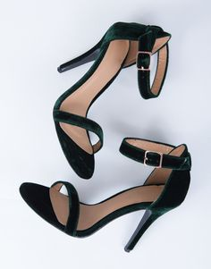 Featured: Holiday Lookbook Cool Girl Holiday Lookbook Pre-Spring Lookbook Step up your shoe game with these Velvet Ankle Strapped Heels. Comes in a pretty wine or hunter green color. Made from a faux